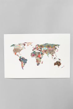 Love this map!! Every country is a different fabric.