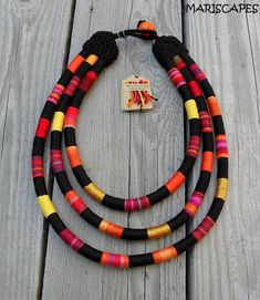 BASTET ETHNO-NECKLACE / yarn-wrapped / by MARISCAPES on Etsy