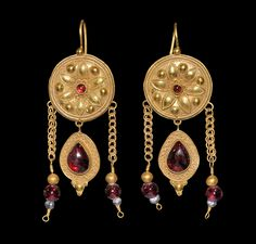 Byzantine Large Gold, Garnet and Glass Bead Earrings, 6th-8th century AD