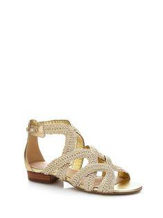 Sandales plates couleur or rose à strass et brides à anneau
