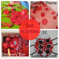 Activities, ideas for toddlers and kids for learning about colours. 10 activities for learning the colour red! Crafts, play dough, bath fun, discovery boxes and Color Red Activities, Preschool Color Theme, Color Games, Craft Activities For Kids, Preschool Activities, Preschool Curriculum, Alphabet Activities, Craft Ideas, Toddler Themes