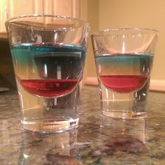 The LA Shot: UV Blue, Triple Sec, and Grenadine