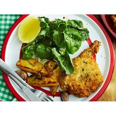 Crunchy veal cutlets with rosemary potatoes recipe - By Australian Women's Weekly, Herb crumbed veal, or any meat of choice, served with rosemary-infused potatoes is a great way to jazz up an ordinary weeknight family meal.