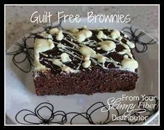 Less Guilty Brownies! Brownies made with zucchini, bananas and applesauce, yielding a brownie with only 120 cals. 2gms of fat and whole bunch of vitamins and minerals, and egg free YESSSS!!! These are a very moist low fat chocolate brownie alternative, for weight watchers, only 2 ww points per serving (24 servings)....