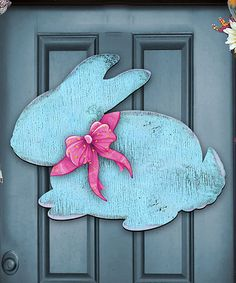 Loving this Rustic Blue Bunny Door Hanger on #zulily! #zulilyfinds