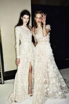 { Embellished Flower Dresses @ Elie Saab Spring 2014 Couture Backstage #SS14 }