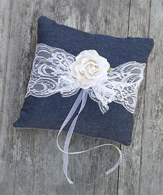 Love this DIY Denim & Lace Ring Bearer Pillow Kit by Luxe & Luster on #zulily! #zulilyfinds