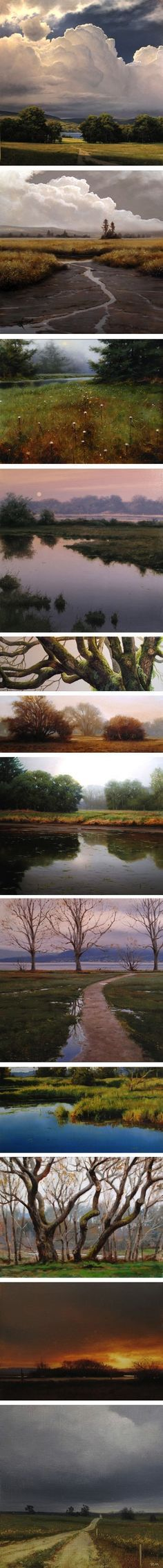 Canadian artist Renato Muccillo's stunning paintings...the dandelion scene and mossy branches are my favorites. {via lines and colors}: