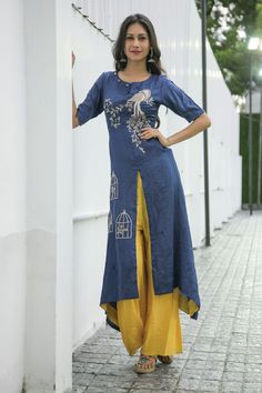 Elegant Navy Blue Kurta With Cage Work With Satin Plazzo