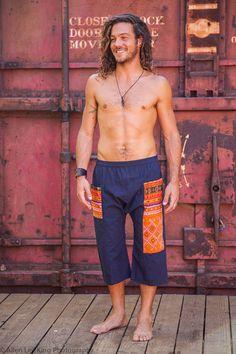 Harem Pants Hmong Shorts Flow Pants Sacred Geometry by HighThai