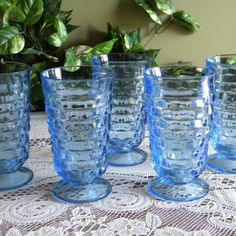 Blue depression glassware....I have a set of these in green, lighter blue than pictured, and AMBER (My fav!)