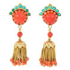 Coral Turquoise Diamond Gold Tassel Earrings