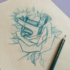 by Fulvio Vaccarone Skull Tattoos, Rose Tattoos, Black Tattoos, Body Art Tattoos, Tattoo Sketches, Tattoo Drawings, Desenho New School, Dibujos Tattoo, Tatoo Designs