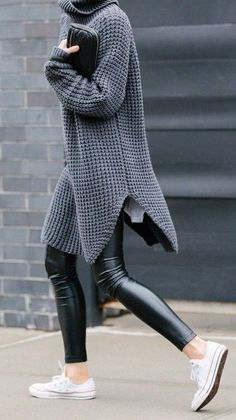 #street #style / oversized gray knit + leather