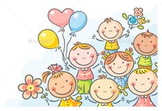 Several illustrations with happy kids: frames, borders, corners, which are easy to integrate into your designs. Cute Cartoon Girl, Happy Cartoon, Cartoon Kids, Art Drawings For Kids, Art For Kids, Kids Background, Stick Figures, Kids Corner, Art Design