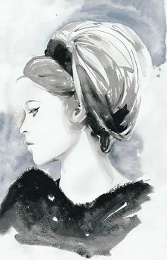 Beautiful watercolour painting by Cate Parr of silver ridge studio    Watercolor Fashion Illustration Print 8 x 10 - Bridget Bardot. $35.00, via Etsy.