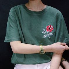 Embroidered Rose Top - Shop Kozy