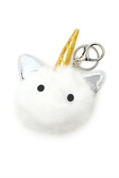 A faux fur keychain featuring a fuzzy unicorn design with a metallic horn, stand-up ears, and googly eyes, with a high-polish ring and lobster clasp.