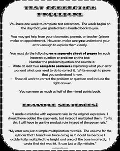 Classroom Management Procedure for Tests in Math Class
