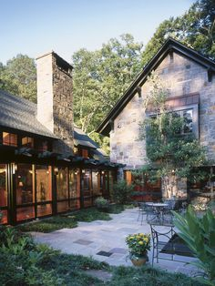 Stunning Modern Rustic Home Design to Your House: Rustic Backyard Design Mountain And Brook Home Patio Design