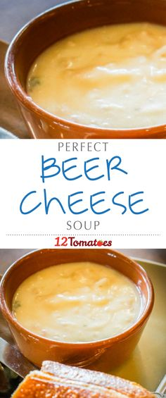 Beer Cheese Soup: Warm and comforting soups are our downfall in the colder months and this thick, cheesy soup is the best of the best. While it seems like a long list of ingredients to work with, this beer cheese soup is really easy to make and absolutely Beer Recipes, Crockpot Recipes, Soup Recipes, Cooking Recipes, Coffee Recipes, Beer Soup, Beer Cheese Soups, Soup Bar, Soup And Sandwich