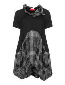 Igor Dobranic Materialmix-Longshirt mit Stoffkragen in Schwarz / Weiß