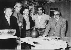 This is perhaps one of the most famous photographs taken at the Archie Bray Foundation. From left to right are Soetsu Yanagi, Bernard Leach, Rudy Autio, Peter Voulkos, and Shoji Hamada.