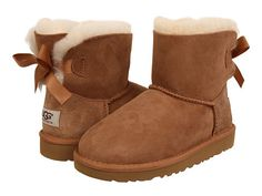 """Ugg: Kids Toddler Mini Bailey Bow Toddler/Little Kid  (Chestnut)  Enter Code: """"15SHOP"""" at Checkout at http://www.littlefeetshoes.com for 15% off Prices."""