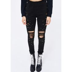 Embellished Distressed Leggings (220 SEK) ❤ liked on Polyvore featuring pants, leggings, black, ripped pants, distressed leggings, destroyed leggings, embellished pants and ripped leggings