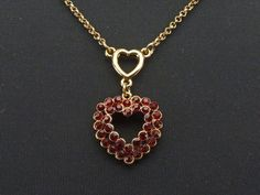 """Lovely Vintage Garnet Red Rhinestone Double Heart Charm Necklace Pendant Adjustable Length Signed """" M """" Romantic Gifts For Her, Red Rhinestone, Red Garnet, Heart Charm, Unique Gifts, Vintage Items, Charmed, Pendant Necklace, Gold"""