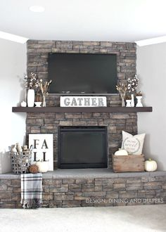 Rustic Fall Mantel using neutrals and texture. Love the GATHER sign and the white against that dark fireplace. Gorgeous.