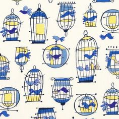 Birdcages Blue & Yellow on Cream from Kelani