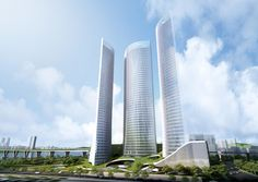 Japanese practice Riken Yamamoto & Field Shop have designed 'Breeze', a cluster of three towers for the R2 block of the   emerging Yongsan International Business District in Seoul, Korea. Three 47-story tall buildings grow from a hilly landscape that encases the 7-story podium.