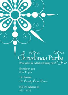 Snowflake Christmas Party Invitation  shoppixelstix.etsy.com