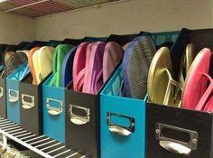 Organize flip flops in magazine holders.