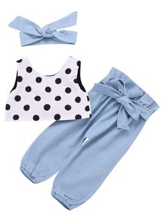 819f82916 Buy Wholesale Fashion Summer Spring Baby Girl Clothes Set Sleeveless Polka  Dots Short Top+Blue Bow Pants+Headband from china wholesale