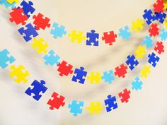 Puzzle Piece Garland – Missing Piece Adoption decoration- Autism Awareness Decor – 10 foot Puzzle piece garland – Your color choices - Modern Puzzle Piece Crafts, Puzzle Pieces, Autism Awareness Crafts, Autism Crafts, Adoption Baby Shower, Adoption Day, Puzzle Party, Gotcha Day, Early Education