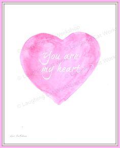 You are my Heart. Watercolor Heart, Pastel Watercolor, Baby Nursery Art, Nursery Decor, Minimalist Nursery, My Heart Is Yours, Kids Poster, Childrens Room Decor, Scandinavian Modern