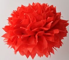 red pom-pom tissue paper flowers - spray paint tips