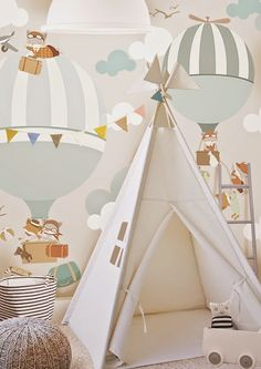 Magical hot air balloon wallpaper by Little Hands