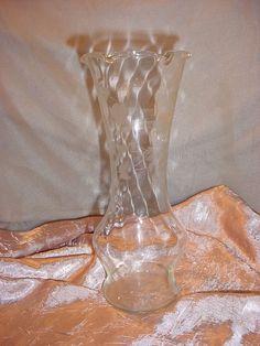 Vintage Antique Clear Glass Flower Vase 9 inch Etched Floral Design Ruffled Edge