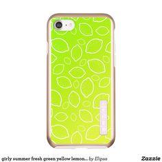 girly summer fresh green yellow lemon pattern incipio DualPro shine iPhone 7 case