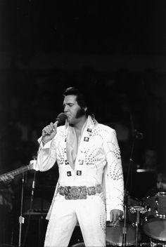 Elvis Presley on stage during a concert at Madison Square Ga