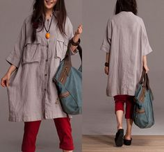 Linen single breasted Large pocket long shirt by dreamyil on Etsy, $99.00