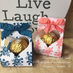 Aperture treat holder for a Ferrero by Stampin Up UK Demonstrator Heidi Smith Flutterbyheidi Valentine Treats, Christmas Treats, Candy Crafts, Paper Crafts, Treat Holder, Treat Box, Ferrero Rocher, Ferrero Chocolate, Candy Favors