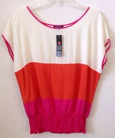 Womens PETITE MEDIUM Knit Top/Shirt/Blouse Rayon Ivory Pink Orange Unique NWT | Clothing, Shoes & Accessories, Women's Clothing, Tops & Blouses | eBay!
