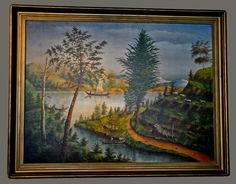"Landscape Folk Art Painting, Charming large colorful landscape painting, oil on canvas, entitled ""Seen on Ohio River"". Signed JW Stephens and dated 1909. Original frame. 42 3/4"" x 52 1/2"" (including frame). $5,800"