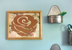Flower bulletin board. So cute framed!