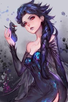Dark Queen Elsa (Frozen) by Furymanura. If Elsa gave in to fear and hate. Disney E Dreamworks, Disney Movies, Disney Pixar, Dark Disney, Frozen Love, Elsa Frozen, Frozen Disney, Frozen Anime, Frozen Art