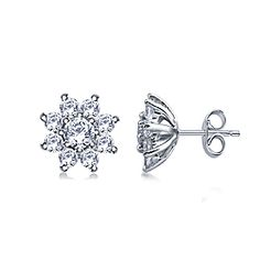 Round Diamond Flower Stud Earrings in 14K White Gold ( 3/4 cttw.)  10% Off + Free Shipping with coupon.